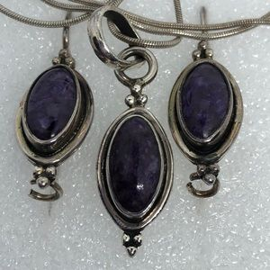 Charoite? Sugilite? Sterling earrings necklace set